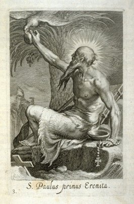 St. Paul the Hermit. S. Paulus primus Eremita, plate 3 in the first series in the book, Sylva Anachoretica Aegypti et Palaestinae (Antwerp: Hendrik Aerts,1619) [ containing two series, Sacra Eremus Ascetarum and Sacra Eremus Ascetriarum]