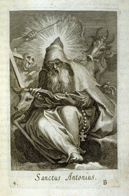 St. Antony. Sanctus Antoninus, plate 4 in the first series in the book, Sylva Anachoretica Aegypti et Palaestinae (Antwerp: Hendrik Aerts,1619) [ containing two series, Sacra Eremus Ascetarum and Sacra Eremus Ascetriarum]