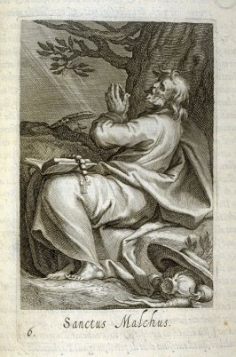 St. Malchus (St. Gall). Sanctus Malchus, plate 6 in the first series in the book, Sylva Anachoretica Aegypti et Palaestinae (Antwerp: Hendrik Aerts,1619) [ containing two series, Sacra Eremus Ascetarum and Sacra Eremus Ascetriarum]