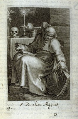 St. Basil the Great (St. Bruno). S. Basilius Magnus, plate 12 in the first series in the book, Sylva Anachoretica Aegypti et Palaestinae (Antwerp: Hendrik Aerts,1619) [ containing two series, Sacra Eremus Ascetarum and Sacra Eremus Ascetriarum]