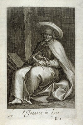 St. John in Lyco (St. Paphnutius). S. Joannes in Lyco, plate 17 in the first series in the book, Sylva Anachoretica Aegypti et Palaestinae (Antwerp: Hendrik Aerts,1619) [ containing two series, Sacra Eremus Ascetarum and Sacra Eremus Ascetriarum]