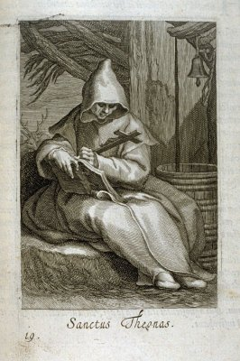 St. Theonas (St. Macarius of Egypt). Sanctus Theonas, plate 19 in the first series in the book, Sylva Anachoretica Aegypti et Palaestinae (Antwerp: Hendrik Aerts,1619) [ containing two series, Sacra Eremus Ascetarum and Sacra Eremus Ascetriarum]