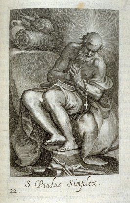 St. Paul the Simple (St. Leonard). S. Paulus Simplex, plate 22 in the first series in the book, Sylva Anachoretica Aegypti et Palaestinae (Antwerp: Hendrik Aerts,1619) [containing two series, Sacra Eremus Ascetarum and Sacra Eremus Ascetriarum]
