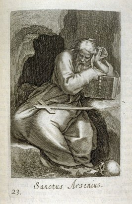 St. Arsenius (The Great, of Skete). Sanctus Arsenius, plate 23 in the first series in the book, Sylva Anachoretica Aegypti et Palaestinae (Antwerp: Hendrik Aerts,1619) [containing two series, Sacra Eremus Ascetarum and Sacra Eremus Ascetriarum]