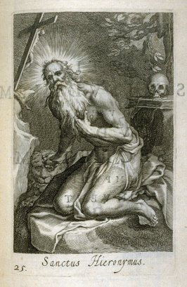 St. Jerome. Sanctus Hieronymus, plate 25 in the first series in the book, Sylva Anachoretica Aegypti et Palaestinae (Antwerp: Hendrik Aerts,1619) [containing two series, Sacra Eremus Ascetarum and Sacra Eremus Ascetriarum]