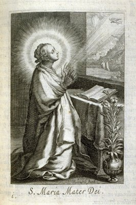 The Virgin. S. Maria Mater Dei, plate 1 in the second series in the book, Sylva Anachoretica Aegypti et Palaestinae (Antwerp: Hendrik Aerts,1619) [containing two series, Sacra Eremus Ascetarum and Sacra Eremus Ascetriarum]