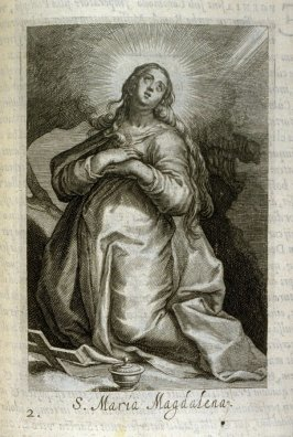 The Magdalen. S. Maria Magdalena, plate 2 in the second series in the book, Sylva Anachoretica Aegypti et Palaestinae (Antwerp: Hendrik Aerts,1619) [containing two series, Sacra Eremus Ascetarum and Sacra Eremus Ascetriarum]