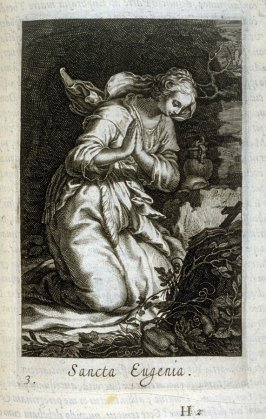 St. Eugenia. Sancta Eugenia, plate 3 in the second series in the book, Sylva Anachoretica Aegypti et Palaestinae (Antwerp: Hendrik Aerts,1619) [containing two series, Sacra Eremus Ascetarum and Sacra Eremus Ascetriarum]