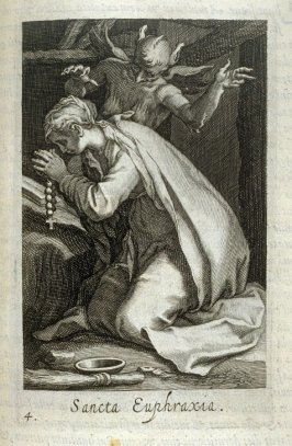 St. Euphrasia. Sancta Euphraxia, plate 4 in the second series in the book, Sylva Anachoretica Aegypti et Palaestinae (Antwerp: Hendrik Aerts,1619) [containing two series, Sacra Eremus Ascetarum and Sacra Eremus Ascetriarum]