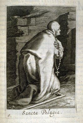St. Pelagia. Sancta Pelagia, plate 8 in the second series in the book, Sylva Anachoretica Aegypti et Palaestinae (Antwerp: Hendrik Aerts,1619) [containing two series, Sacra Eremus Ascetarum and Sacra Eremus Ascetriarum]