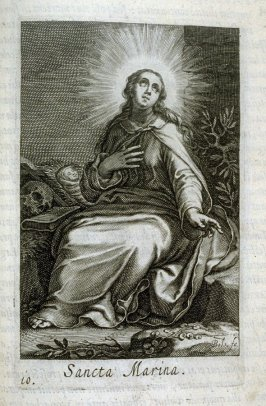 St. Marina. Sancta Marina, plate 10 in the second series in the book, Sylva Anachoretica Aegypti et Palaestinae (Antwerp: Hendrik Aerts,1619) [containing two series, Sacra Eremus Ascetarum and Sacra Eremus Ascetriarum]