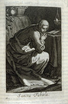St. Fabiola. Sancta Fabiola, plate 11 in the second series in the book, Sylva Anachoretica Aegypti et Palaestinae (Antwerp: Hendrik Aerts,1619) [containing two series, Sacra Eremus Ascetarum and Sacra Eremus Ascetriarum]