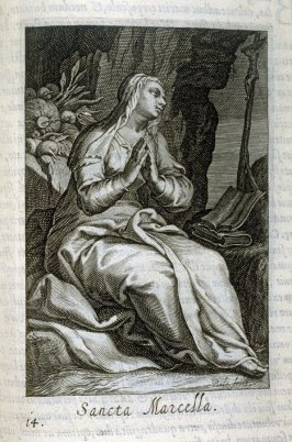 St. Marcella. Sancta Marcella, plate 14 in the second series in the book, Sylva Anachoretica Aegypti et Palaestinae (Antwerp: Hendrik Aerts,1619) [containing two series, Sacra Eremus Ascetarum and Sacra Eremus Ascetriarum]