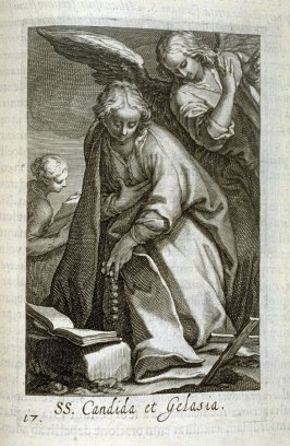 Sts. Candida and Gelasia. SS. Candida et Gelasia, plate 17 in the second series in the book, Sylva Anachoretica Aegypti et Palaestinae (Antwerp: Hendrik Aerts,1619) [containing two series, Sacra Eremus Ascetarum and Sacra Eremus Ascetriarum]