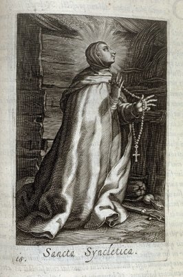 St. Syncletica. Sancta Syncletica, plate 18 in the second series in the book, Sylva Anachoretica Aegypti et Palaestinae (Antwerp: Hendrik Aerts,1619) [containing two series, Sacra Eremus Ascetarum and Sacra Eremus Ascetriarum8