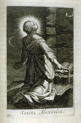 St. Alexandra. Sancta Alexandra, plate 20 in the second series in the book, Sylva Anachoretica Aegypti et Palaestinae (Antwerp: Hendrik Aerts,1619) [containing two series, Sacra Eremus Ascetarum and Sacra Eremus Ascetriarum8