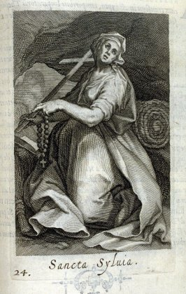 St. Sylvia. Sancta Sylvia, plate 24 in the second series in the book, Sylva Anachoretica Aegypti et Palaestinae (Antwerp: Hendrik Aerts,1619) [containing two series, Sacra Eremus Ascetarum and Sacra Eremus Ascetriarum8