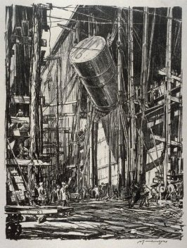 Lifting an oil tank into a train ferry, from the series 'On the Clyde'