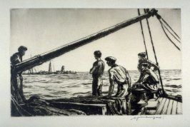 Salvage men approaching a torpedoed boat
