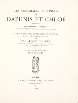Untitled, title page, in the book Daphnis et Chloé by Longus (translated by Jacques Amyot) (Paris: Ambroise Vollard, 1902).