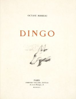 Title page, in the book Dingo by Octave Mirbeau (Paris: Ambroise Vollard, 1924)