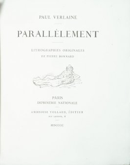 Untitled, title page device , in the book Parallèlement by Paul Verlaine (Paris: Ambroise Vollard, 1900).