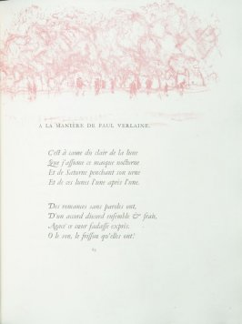 """A la manière de Paul Verlaine"", pg. 69 , in the book Parallèlement by Paul Verlaine (Paris: Ambroise Vollard, 1900)."