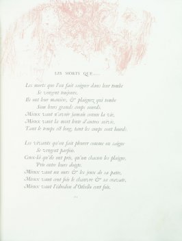 """Les morts que....."", pg. 111 , in the book Parallèlement by Paul Verlaine (Paris: Ambroise Vollard, 1900)."