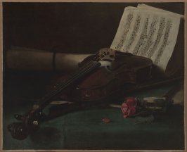 Still Life with Violin, Sheet Music, and a Rose