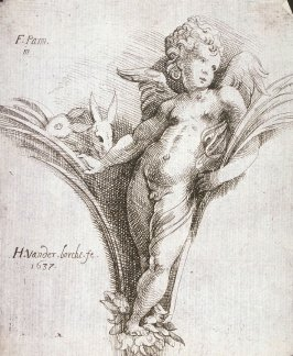 Five Emblematic Prints: (1) Ornament in form of winged child with Rabbit