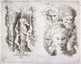 Five Emblematic Prints: (3) Statue of woman with two winged children, Five heads