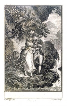 [Man and woman standing on a river bank]