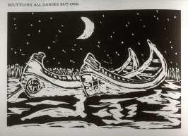 Scuttling All Canoes But One, on page 50 of the book Captivity Narrative of Hannah Duston by Cotton Mather, John Greenleaf Whittier, Nathaniel Hawthorne, and Henry David Thoreau (San Franc isco: Arion Press, 1987)