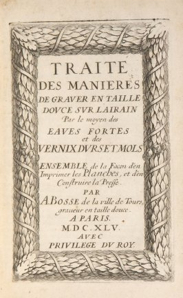 Engraved title page to original edition, second plate preceding page 1 in the book Traité de manières de graver …by Abraham Bosse (Paris: Pierre Auboüin and Charles Clousier, 1701)