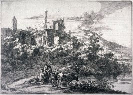 The two cows near the River, Tivoli, from the series Landscapes of the Environs of Rome