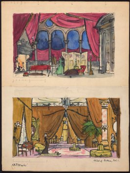 a. Interior columns, set design for the play Child of Fortuneb. Venetian lagoon, set design for the play Child of Fortune