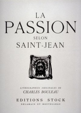 Title page in the portfolio La passion selon Saint-Jean (Paris: Editions Stock Delamain et Boutelleau, 1944)