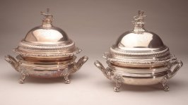 Breakfast dish set (dish base, liner for base, tray for base, salver and lid)