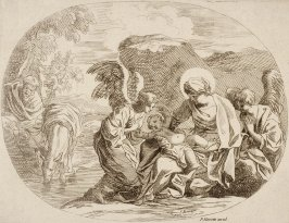 The Holy Family resting at a stream with two Angels attending, After Seb. Bourdon