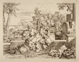 The Holy Family resting among the ruins on the flight to Egypt