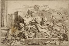 The Holy Family with St. John and the lamb, After Seb. Bourdon