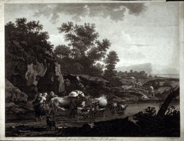 Herders and Cattle Crossing a Stream