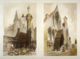 Plate 2: Left: Fishmarket, Antwerp / Right: Hospice des Veillards (Old Men's Home), Gand (Ghent) from the series 'Picturesque Architecture in Paris, Ghent, Antwerp, Rouen &c Drawn from Nature & on Stone'