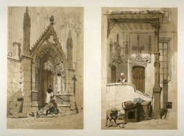 Plate 16: Left: Porte Rouge, Notre Dame, Paris / Right: Rue des Marmousets, Paris from the series 'Picturesque Architecture in Paris, Ghent, Antwerp, Rouen &c Drawn from Nature & on Stone'