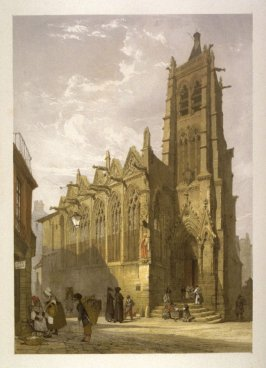 Plate 15: Church of St. Severin, Paris from the series 'Picturesque Architecture in Paris, Ghent, Antwerp, Rouen &c Drawn from Nature & on Stone'
