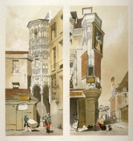 Plate 22: Left: Hotel de la Tremouille, Rue des Bourdonnais, Paris / Right: Veille Rue du Temple, Paris, from the series 'Picturesque Architecture in Paris, Ghent, Antwerp, Rouen &c Drawn from Nature & on Stone'