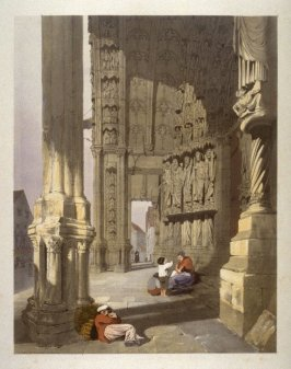Plate 25: South Porch of Chartres Cathedral from the series 'Picturesque Architecture in Paris, Ghent, Antwerp, Rouen &c Drawn from Nature & on Stone'