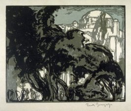 Garden of the Mosque of Soliman, Constantinople, plate 3 [removed] from the portfolio, Frank Brangwyn, Zwanzig graphische Arbeiten( Vienna, Artur Wolf Verlag, [1921])