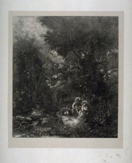 Rest on the Flight into Egypt, with laden donkey