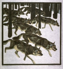Wolves in a Winter Landscape